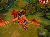 龍戒騎著火鴉坐騎林中飛行