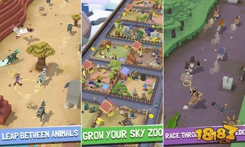 本作是一款跑酷游戏,玩家在游戏中需要套住自己喜欢的动物,并骑着它来前往空中动物园。玩家在路上可以赚取金币来解锁生活在不同环境中的动物,甚至还会有很多稀有动物将会在游戏之中出现。游戏中还会出现很多的障碍,玩家必须要跨过这些障碍,让自己的坐骑安全前进。