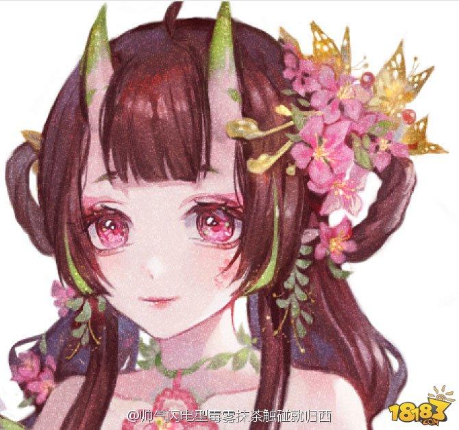玩家手绘作品:桃花妖新皮肤春暖花开_18183阴阳师手游