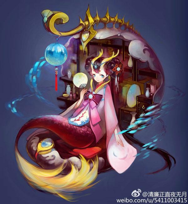 玩家手绘作品:椒图新皮肤龙的五闺女