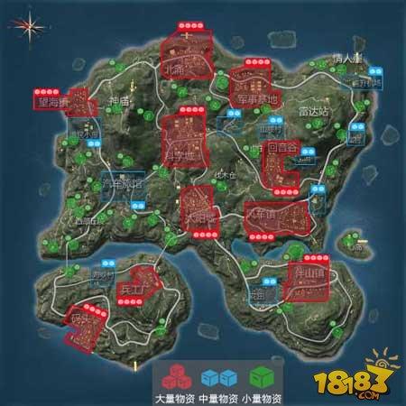 一圖了解地圖 荒島特訓2.0資源點分布情況