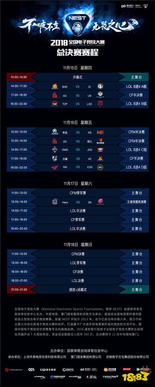 NEST2018厦门总决赛 《英雄联盟》项目赛程公布