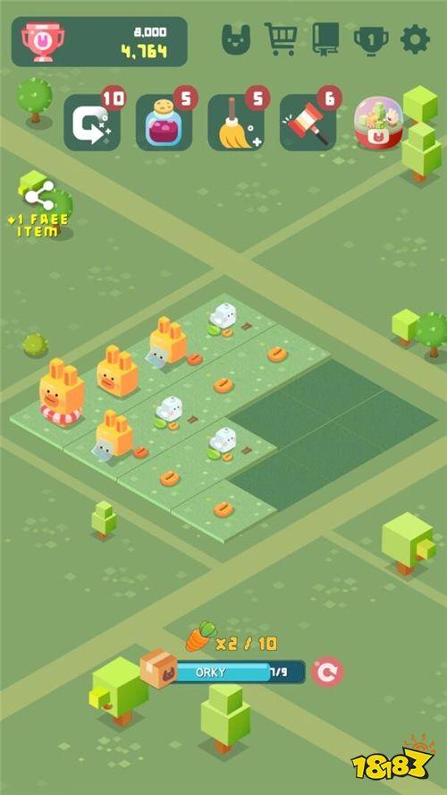 益智游戏《2048兔子村》 多种造型的兔子让组合更有趣