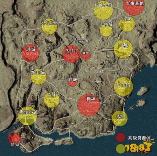 绝地求生刺激战场沙漠地图资源分布图 刺激战场哪里资源丰富