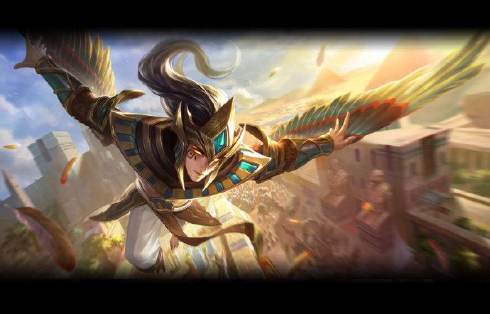 王者荣耀云中君皮肤黄金瞳荷鲁斯之眼上线,背后埃及金字塔瞩目!