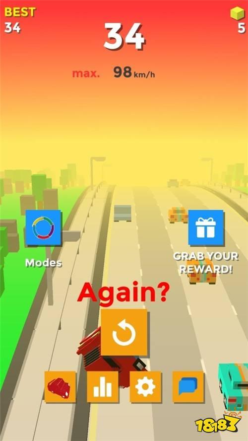 赛车游戏《Crashy Road》左右切换在高速公路上飞驰
