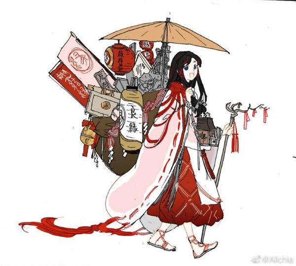 阴阳师缘结神原稿设计思路公开 日系和风感十足的黑长直少女