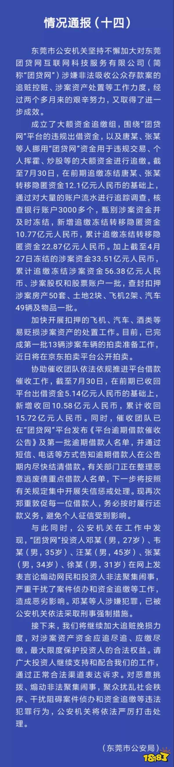 警方发布团贷网案新进展 累计冻结资金56.38亿
