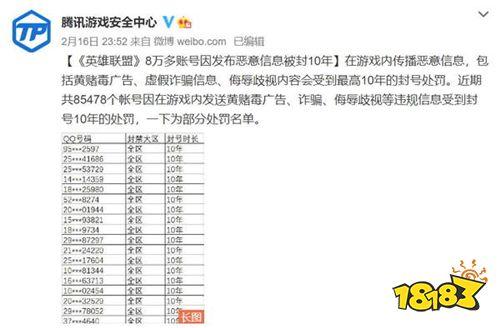 《英雄联盟》严禁发布恶意信息 8万多账号被封10年