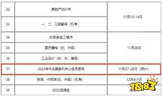 2022年国考日期公布 2021年11月27日开始笔试