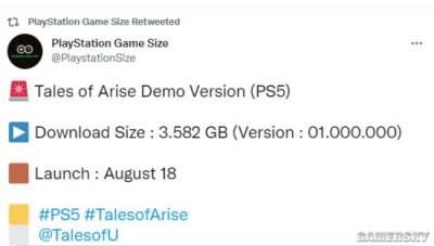 《破晓传说》PS5体验版容量曝光 约3.5GB