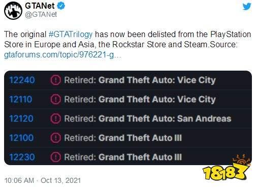 《GTA三部曲》已在Steam等停售:应发行商请求