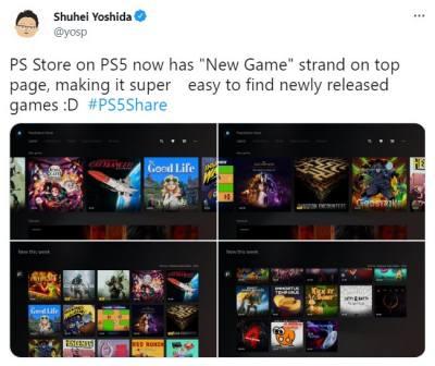 """PS5商店首页新增""""新游戏""""页面 查看新作更快捷"""